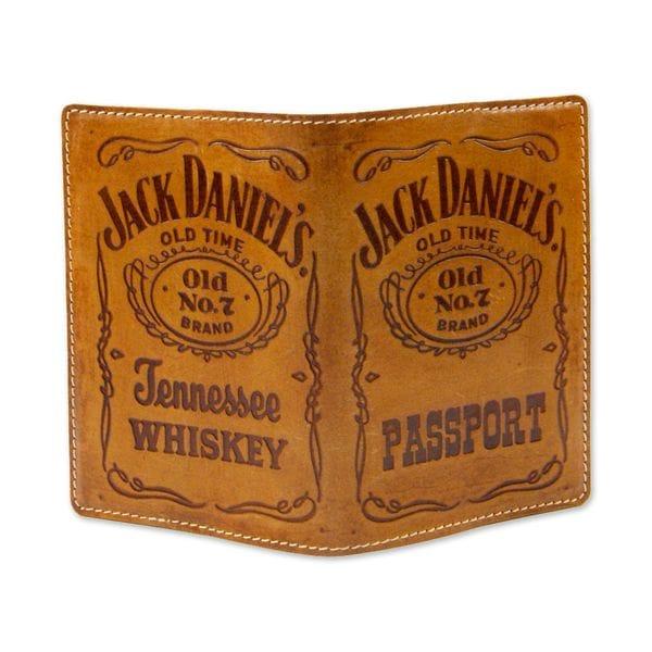 Обложка для паспорта Jack Daniels коричневая, фото 1