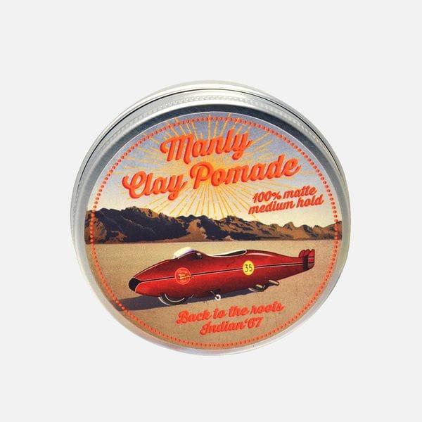 Мягкая глина для укладки волос Manly Clay Pomade на водной основе средней фиксации, купить в интернет-магазине Brutalbeard