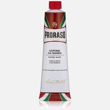 Крем для бритья в тубе Proraso sandal для жесткой щетины, увлажняет и смягчает