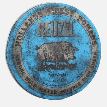 Синяя помада Reuzel strong hold high sheen pomade сильной фиксации
