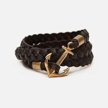 Плетеный черный кожаный браслет с якорем Varvar Great Traveller Black