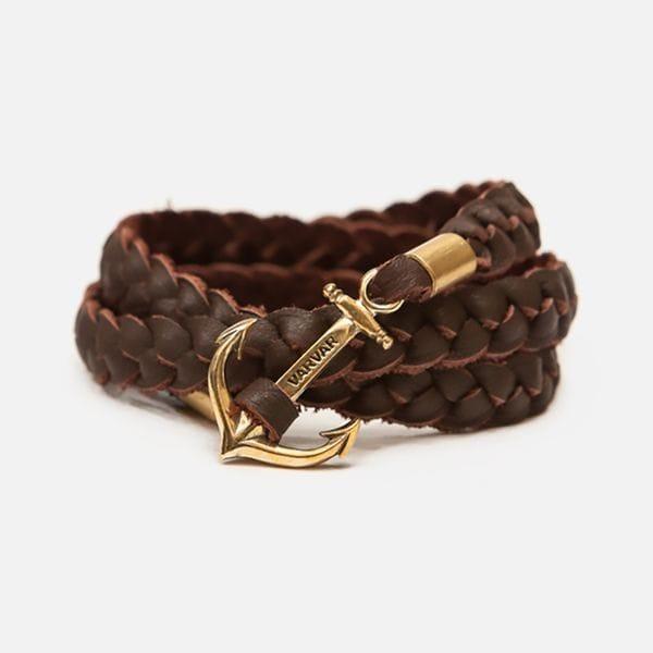 Браслет из кожи толстого плетения с якорем Varvar Great Traveller Brown, купить в интернет-магазине Brutalbeard