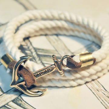 Белый канатный браслет с якорем Varvar Great Traveller White rope