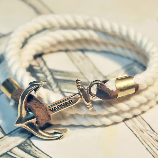 Белый канатный браслет с якорем Varvar Great Traveller White rope, купить в интернет-магазине Brutalbeard