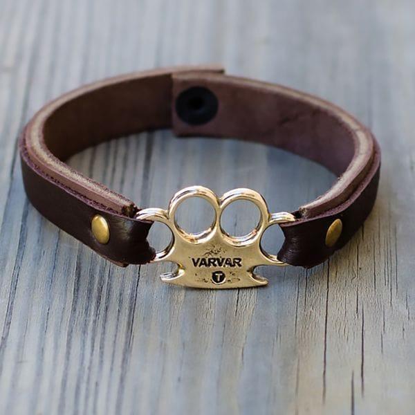 Мужской браслет с кастетом Varvar Hooligans Brown, купить в интернет-магазине Brutalbeard