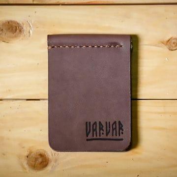 Кожаный зажим для денег Varvar, коричневый