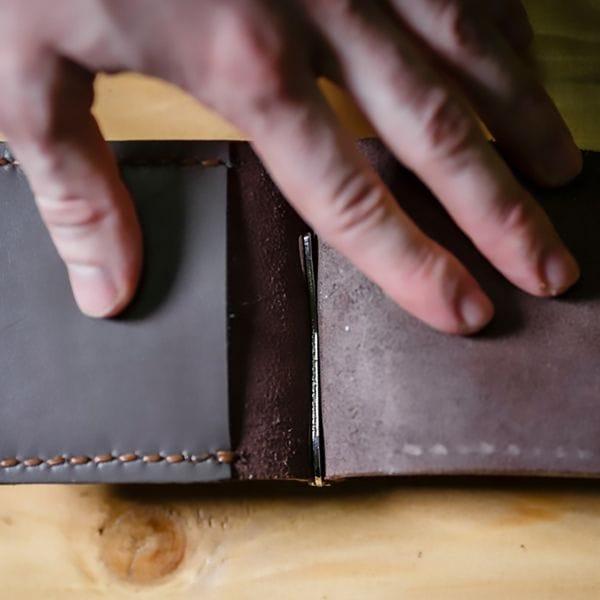 Кожаный зажим для денег Varvar, коричневый, фото 2