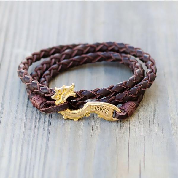 Браслет из натуральной кожи дракон Varvar Pagan Drakkar Round Brown, купить в интернет-магазине Brutalbeard