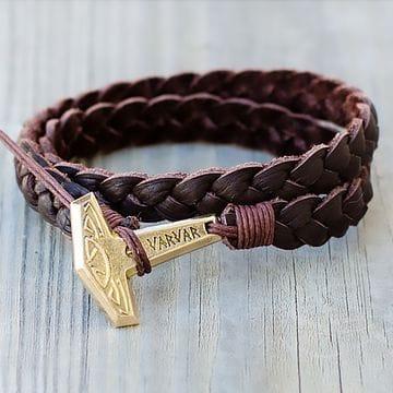 Коричневый кожаный браслет молот Varvar Pagan Hammer Brown