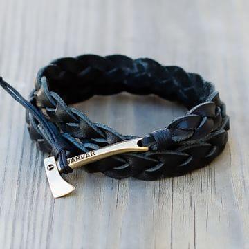Модный кожаный браслет толстого плетения Varvar Woodsman Black