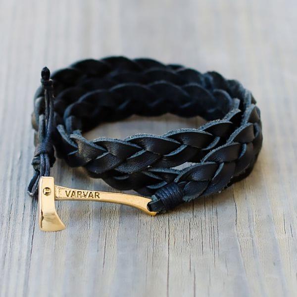 Модный кожаный браслет толстого плетения Varvar Woodsman Black, фото 1