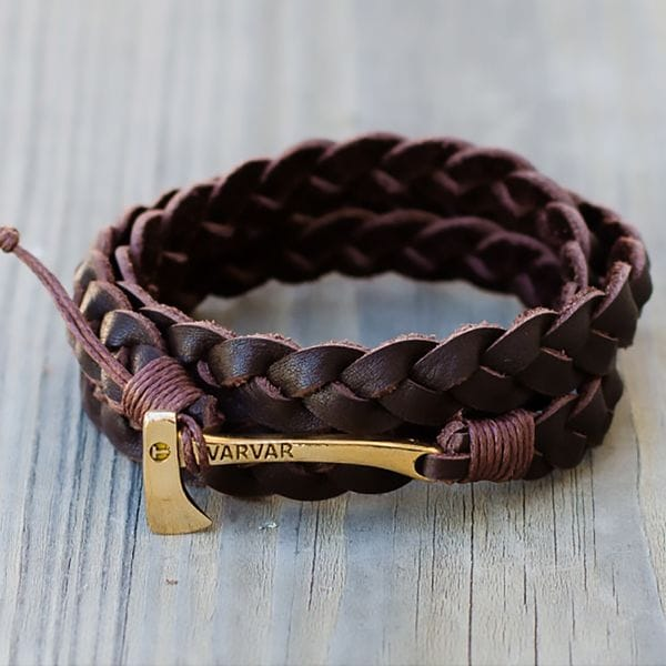 Плетеный браслет из натуральной кожи с топором Varvar Woodsman Brown, купить в интернет-магазине Brutalbeard