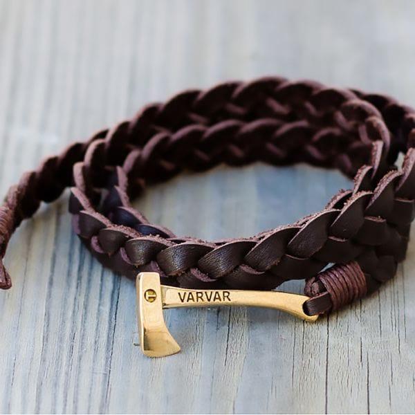 Плетеный браслет из натуральной кожи с топором Varvar Woodsman Brown, фото 1