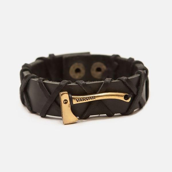 Черный кожаный браслет с топором Varvar Woodsman Cross Black, купить в интернет-магазине Brutalbeard