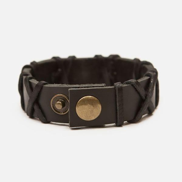 Черный кожаный браслет с топором Varvar Woodsman Cross Black, фото 1