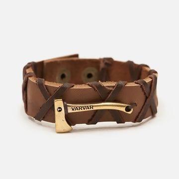Кожаный браслет с плетением и топором коричневый Woodsman Cross Brown