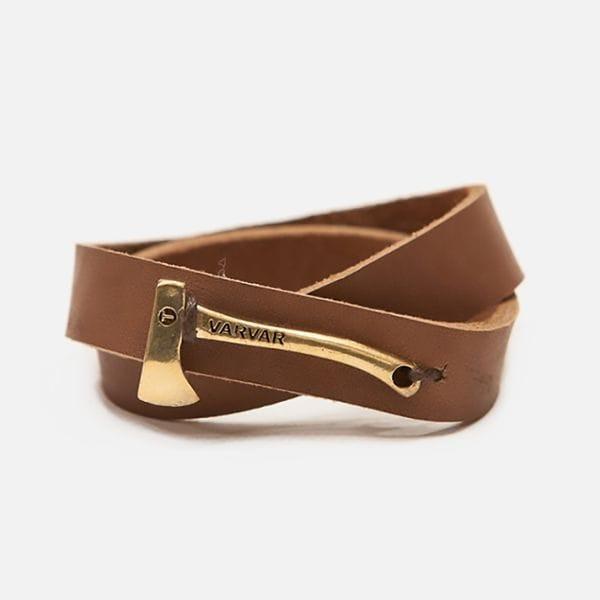Широкий браслет на руку коричневый Varvar Woodsman Plain Brown, купить в интернет-магазине Brutalbeard