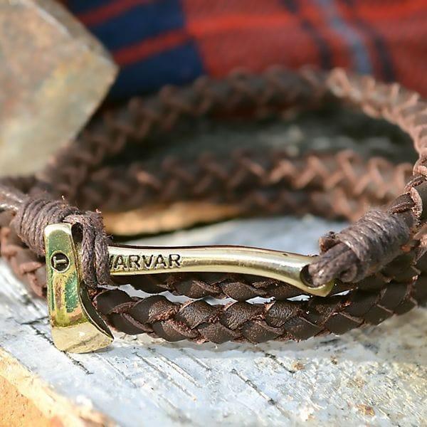 Браслет из натуральной кожи коричневого цвета Woodsman round brown, купить в интернет-магазине Brutalbeard