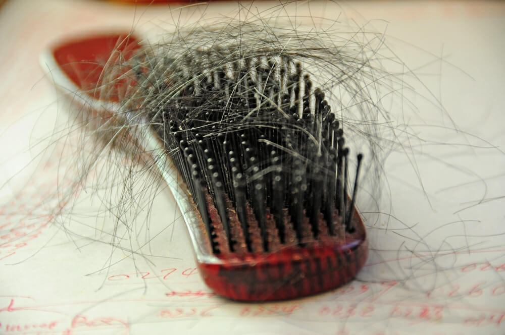 Выпадение волос, как видно на гребне